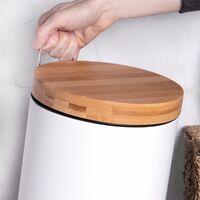 Bathroom Bin with Bamboo Lid 5L | M&W - White