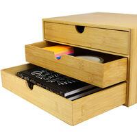 Bamboo Desktop 3 Drawer Organiser   Wide Opening   M&W