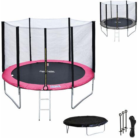 Pack Premium Cama elástica 305cm reversible rosa / color gris ADELAÏDE + red de seguridad, escalera, lona y kit de anclaje