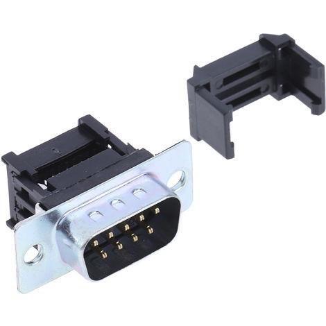 Connecteur Sub-D IDC RS PRO, 9 voies, pas de 2.77mm coudé Mâle, boitier Acier Zingué