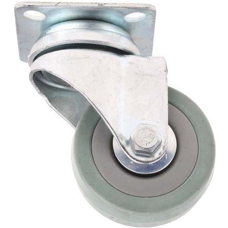 Roulette Pivotante Caoutchouc 50mm, Partie supérieure plate, 50kg