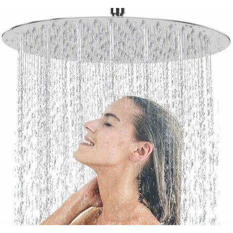 Soffione Doccia A Specchio Rotondo Orientabile Pioggia Bagno Moderno 20 Cm