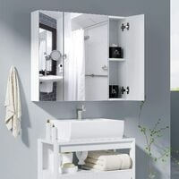 BAMNY Armoire de salle de bain meuble de salle de bain armoire murale miroir avec 3 portes 4 compartiments 70 x 60 x 15 pouces