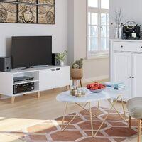 BAMNY Table Basse Table d'Appoint Table de Salon Table de Café en Bois et Métal 120×60×41cm Ovale
