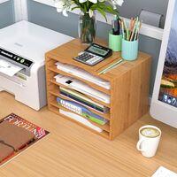 BAMNY Bureau Rangement en Bambou Module de Rangement avec 4 Cloisons Amovibles pour Porte Lettres Fichiers 33x24.6x26cm