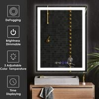 BAMNY Miroir Anti-buée de Salle de Bain Miroir avec Horloge numérique avec Interrupteur Tactile Miroir LED avec 3 Mode Lumière Montage Vertical 60x4x80cm