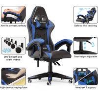 Fauteuil de bureau Chaise Gamer Chaises de bureau à haut dossier avec coussin et dossier inclinable Noir et Bleu Bigzzia