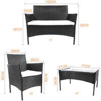 Salon de jardin en imitation résine tressée, Ensemble de 4 meubles de jardin en rotin Noir