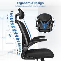 Chaise de Bureau Ergonomique Siège - Fauteuil avec 2D Accoudoirs, Hauteur Appui-tête Soutien Lombaire Dossier Règalable