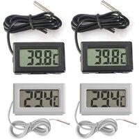 4PCS LCD Digitale Termometro con Sonda Esterna Impermeabile per Frigorifero, Congelatore, Acquario (2X Bianca, 2X Nero)