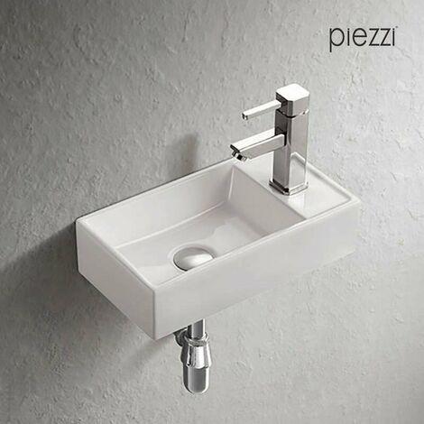 Piezzi Lavabo de Manos suspendido en cerámica Blanca – Manéo