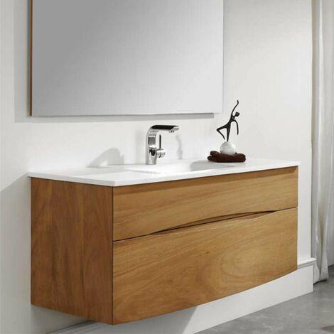 Mueble de baño suspendido 90 cm - Iroko  con lavabo integrado en solid surface