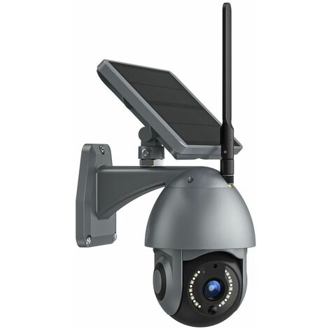 Caméra Solaire Wifi multifonction motorisée 360° - Autonome - Batteries incluses - gris