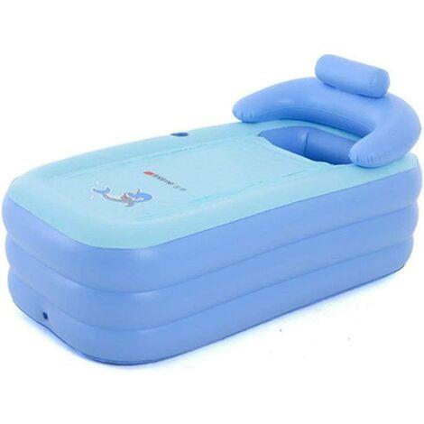 PVC Adulte Baignoire Gonflable Pliante Portable Bain Détachable Chauffage Durable (bleu)