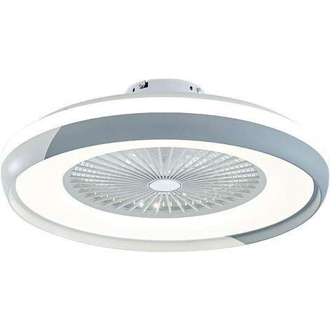 Ventilateurs de Plafond avec Lampe Intégrée 23'' Lustre de Ventilateur SYF-C007 avec 3 Vitesses Réglables Blanc et Gris
