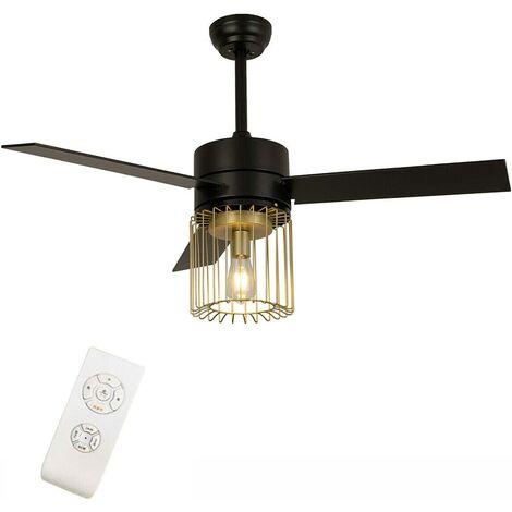 52 pouces Ventilateur de plafond avec éclairage Lustre de Ventilateur de plafond à Cage Noir/Blanc 36W Design Moderne Simplicité avec Télécommande pour Salon Couloirs Hall d'entrée (Noir)