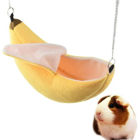 Hamster Maison Suspendue Hamac Banane Conception Petits Animaux Coton Cage Dormir Nid d'animal Lit Rat Hamster Jouets Cage Balançoire (Color : Yellow)