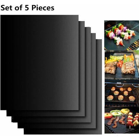 AIDUCHO Set de 5 Tapis de Cuisson Tapis BBQ Barbecue Plaque Feuille de Cuisson Four 40 * 33cm pour Barbecue gaz Charbon électrique 100% Anti-adhérent - Noir