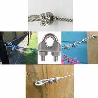 AIDUCHO M8 Serre-câbles Etrier U Boulon Clip de Câble 304 Acier inoxydable Selle de pince de Câble Câble métallique Clips pour etendoir linge exterieur10PCS