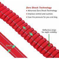 AIDUCHO Laisse pour Chien Solide avec Poignée Rembourrée Corde Anti-Traction Laisse de Dressage Élastique pour Moyens et Grands Chiens en Fort Tirage (110CM-150CM, Rouge)