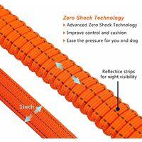 AIDUCHO Laisse pour Chien Solide avec Poignée Rembourrée Corde Anti-Traction Laisse de Dressage Élastique pour Moyens et Grands Chiens en Fort Tirage (110CM-150CM, Orange)