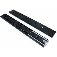 AIDUCHO 2 paires de glissières en acier pour glissières de tiroir à roulement à billes 16 pouces (40 cm), extension complète proche du côté des tiroirs, tablette coulissante fixe