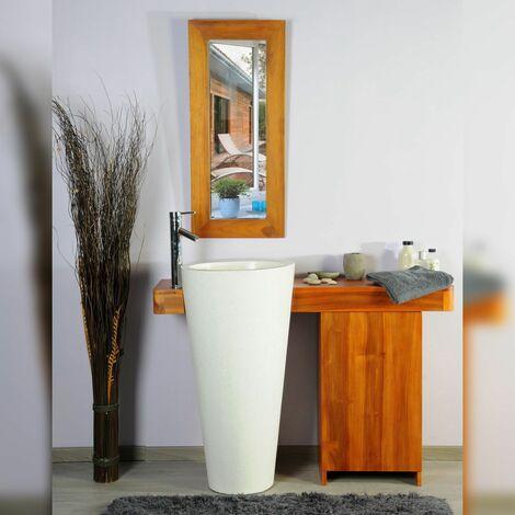 Salle bain teck 120 cleopatra blanc porte