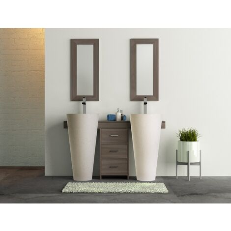 Salle bain teck cleopatra A3 double tiroirs blanc