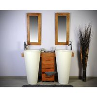 Salle bain teck 140 cleopatra blanc tiroirs