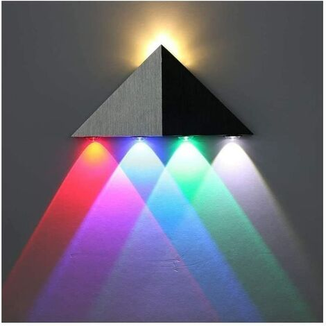 Applique Murale LED 5W Interieur Triangle Lampe Design Original Moderne Eclairage Décoratif en Aluminium Lumiaire pour Chambre Couloir Salon - Multi-Couleur [Classe énergétique A++]
