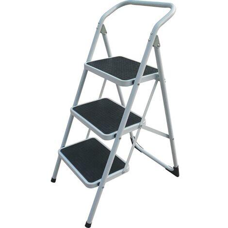 Escalier domestique Rampe basse 3 marches 38X26Cm 0,73Mt Acier Blanc Cody