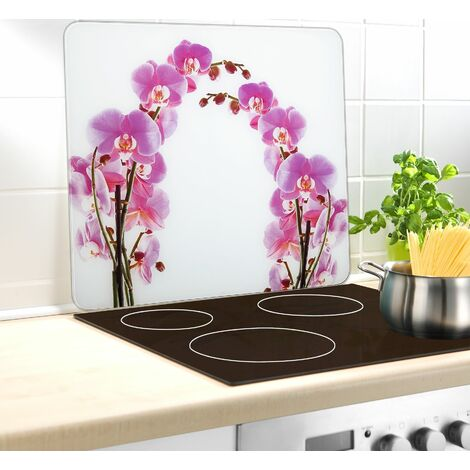 Wenko Multi-Platte Orchideenblüte, für Glaskeramik Kochfelder, Schneidbrett - Mehrfarbig, Füße: Transparent