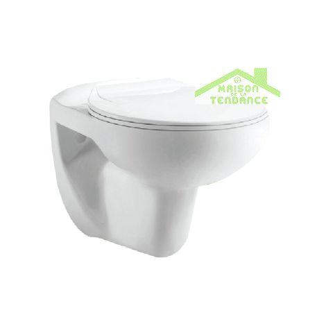Cuvette WC suspendu en porcelaine PAROS avec abattant à frein de chute