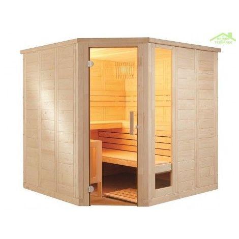 Cabine de Sauna d'angle KOMFORT CORNER de SENTIOTEC 206x206 cm