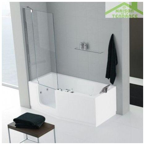 Baignoire à porte NOVELLINI IRIS version COMBY avec pare-baignoire