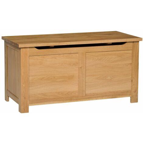 Waverly Oak Blanket Box in Light Oak Finish | Toy Storage Trunk/Chest | Solid Wooden Ottoman