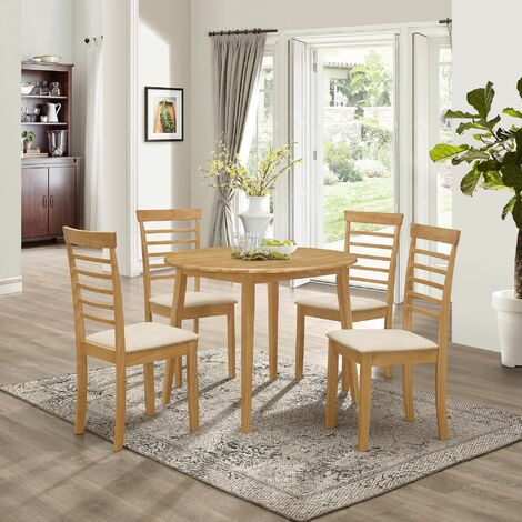 Ledbury Small Solid Wooden Drop Leaf Round Dining Table and 4 Chairs Set in Oak Finish