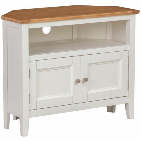 Clifton Oak Off White Painted Small Corner TV Stand with 2 Doors   Compact Media Cabinet   Entertainment Table   Wooden Television Unit