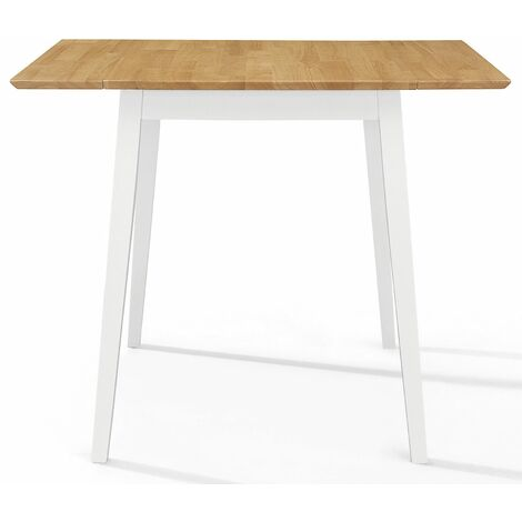 Ledbury Small White Painted Wooden Kitchen Drop Leaf Dining Table in White & Oak Finish