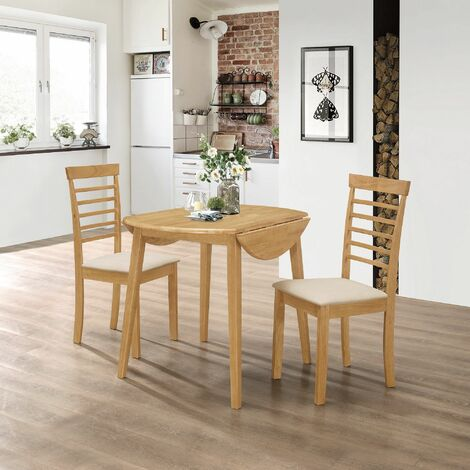 Ledbury Small Solid Wooden Drop Leaf Round Dining Table and 2 Chairs Set in Oak Finish