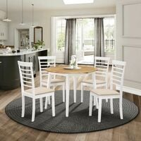 Ledbury Small Solid Wooden Round Drop Leaf Dining Table and 4 Chairs Set in White & Oak Finish