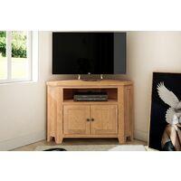 Cotswold Oak 2 Door Corner TV Stand Unit in Light Oak Finish | Media Cabinet | Entertainment Table | Solid Wooden Television Unit