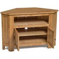 Waverly Oak 2 Door Corner TV Stand Unit in Light Oak Finish   Media Cabinet   Entertainment Table   Solid Wooden Doored Unit