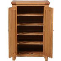 Cotswold Oak Tall Shoe Storage Cabinet in Lacquered Oak Finish | Wooden Cupboard / Organiser