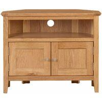 Hereford Oak 2 Door Corner TV Stand Unit in Light Oak Finish | Media Cabinet | Entertainment Table | Solid Wooden Unit