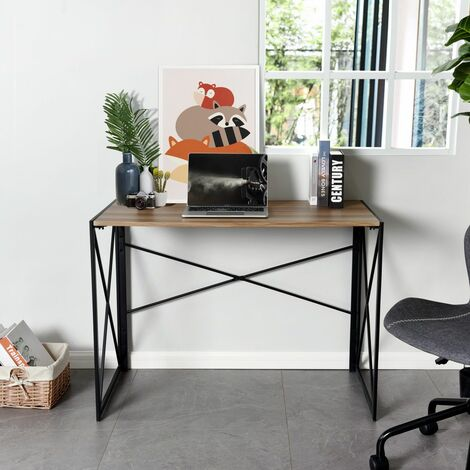 Folding Computer Desk, No-Assembly Simple Study Desk, Writing Table Home Office Desk for Adult & Kids 100 x 50 x 75 cm