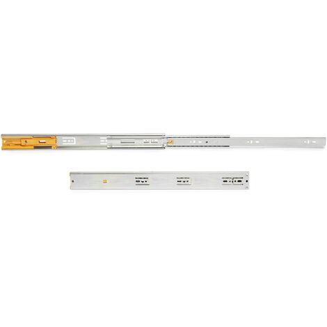 Emuca Paire de coulisses pour tiroirs, à billes, 45 x 350 mm, sortie totale, fermeture amortie, Zingué - Zingué