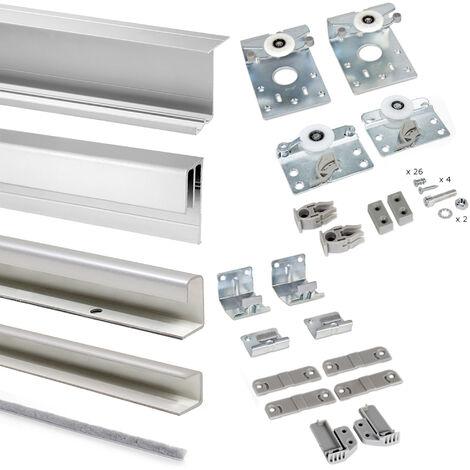 Emuca Système coulissant Neco pour armoires à 2 portes suspendues, épaisseur 16 mm, panneaux non incluses, anti-déraillement, profils Aluminium, Gris métallisé - Peint en aluminium
