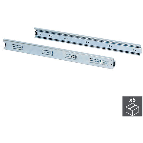 Emuca Paire de coulisses pour tiroires, à billes, 45 x 250 mm, à sortie totale, Zingué, 5 ut. - Zingué