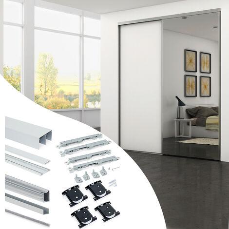 Emuca Système coulissant Placard pour armoires 2 portes avec roulement inférieur, épaisseur 18mm, fermeture amortie, panneaux non incluses, profils Aluminium, Anodisé mat - Anodisé mat